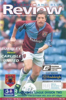 aef0737bcb46 Burnley v Carlisle United - 11th October 1997. Nationwide Football League  Division Two