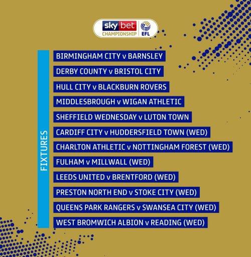 Midweek Championship fixtures