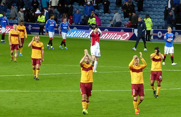 Brave Motherwell lose to a late Ibrox goal