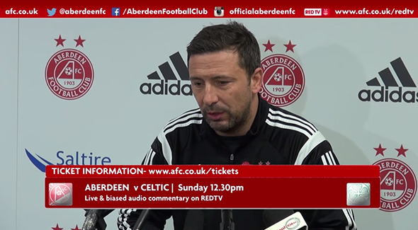 Derek McInnes speaks to the press. Watch the video below