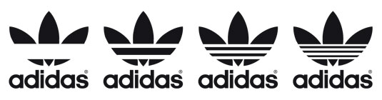 The Adidas trefoil logo through the ages: (l-r) 1925, 1955, 1985, and 2015